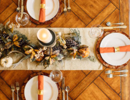 fall tablescape with late autumn artificial wreath by balsam hill