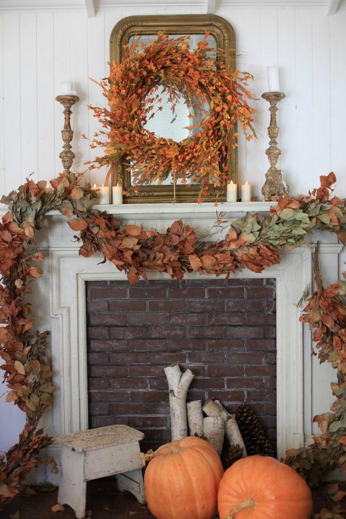 Autumn mantel wreath decor