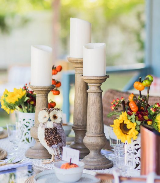 Diana's Faux Bois Candle Holders and Miracle Flame LED Wax Pillar Candle