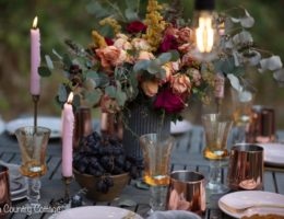 outdoor fall tablescape