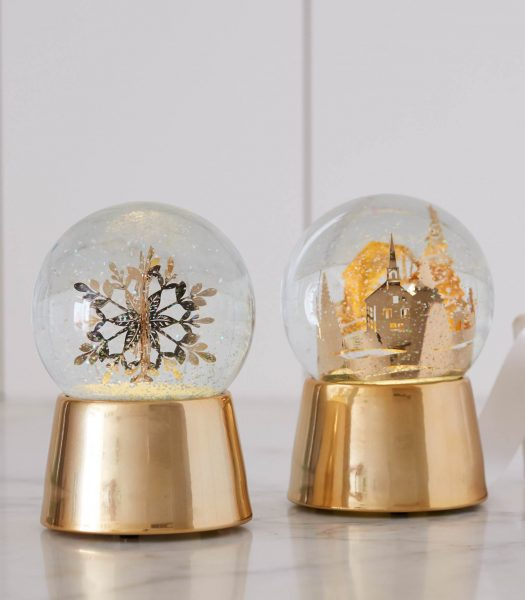 gold snowglobe Nicole Miller Christmas decor