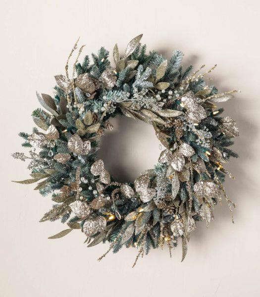 wreath with accents of Nicole Miller Christmas decor