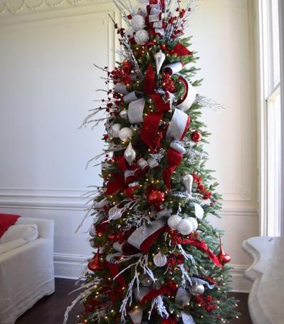 Brad Schmidt's red, white, and silver Christmas tree idea
