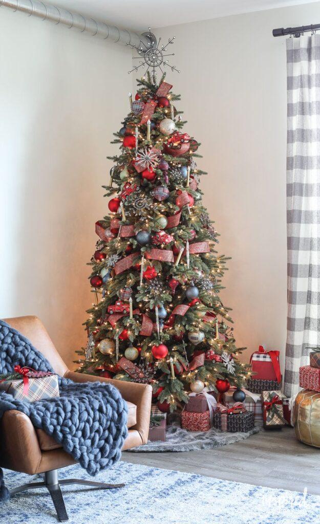 Rustic modern Christmas tree in living room