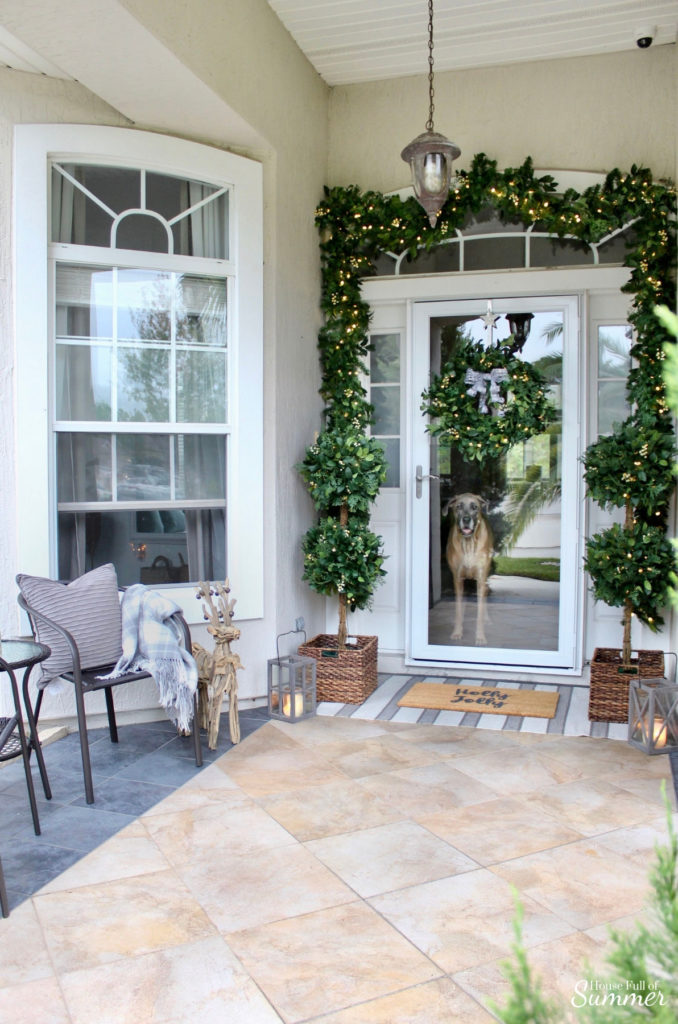 Decorating with White Berry Cypress Wreath, Garlands, and Topiaries