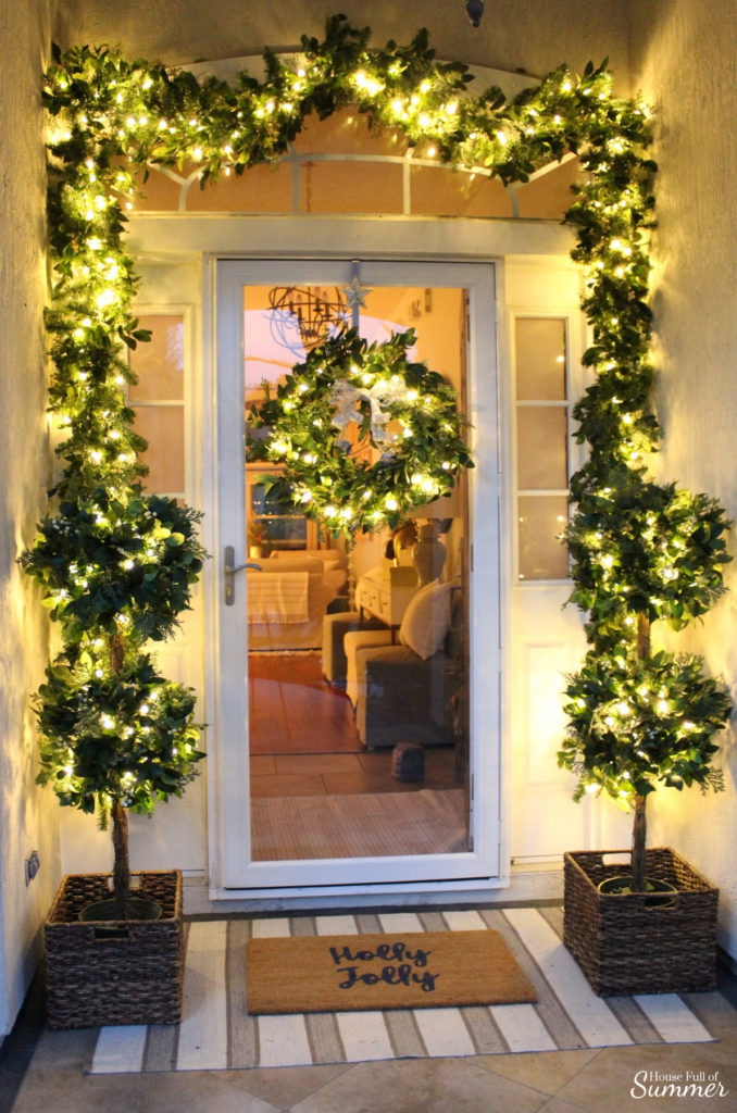 Decorating with pre-lit White Berry Cypress Wreath, Garland, and Topiaries