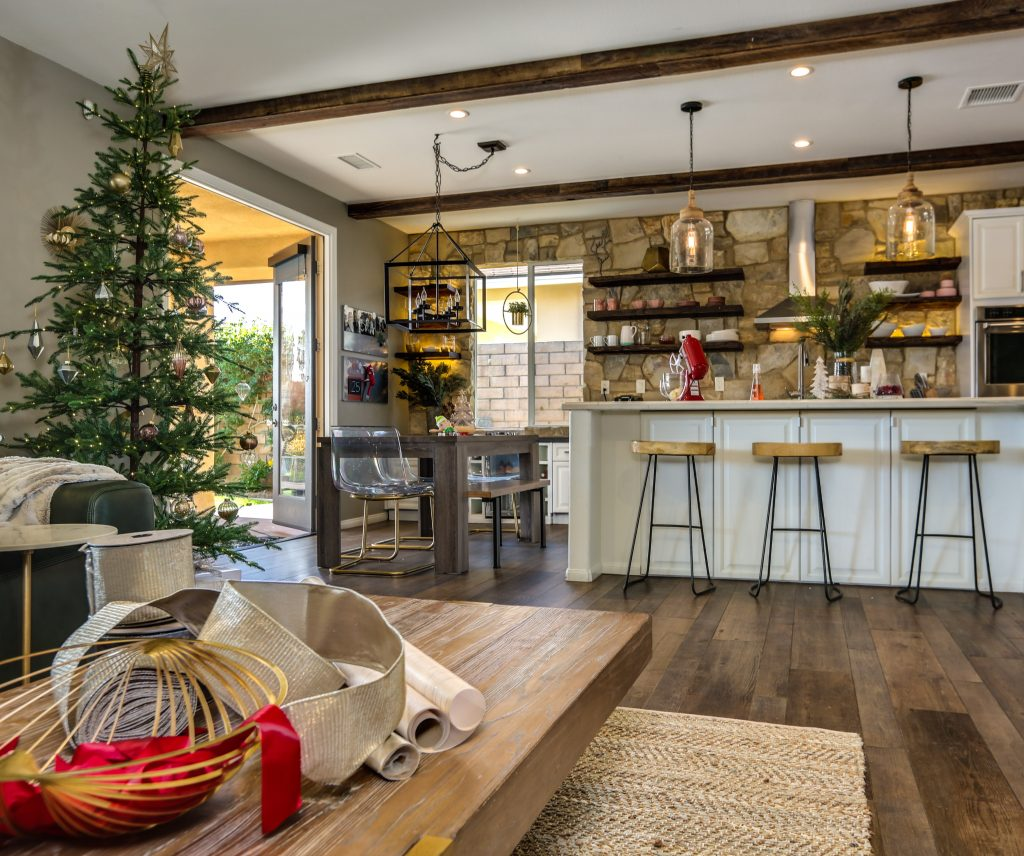 The Alpine Balsam Fir is noticeable across the room with Eric and Lindsey Bennett's open-floor plan