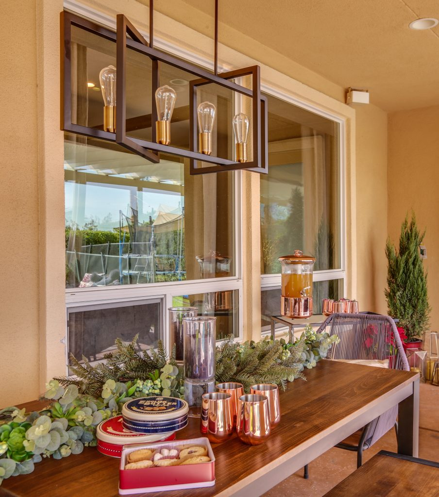 Montauk Succulent Garland displayed on the outdoor dining table