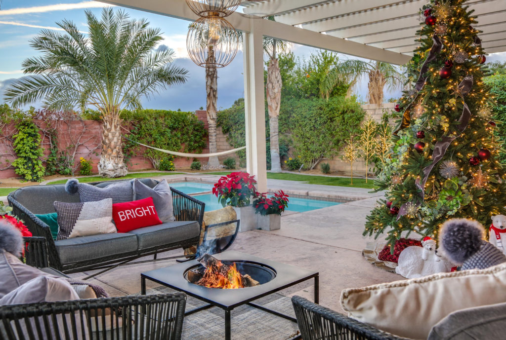 Eric and Lindsey of Desert Flippers decorate their outdoor living room with the BH Balsam Fir tree