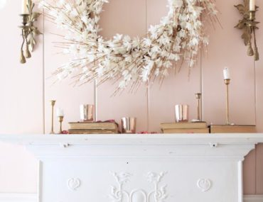 Balsam Hill White Forythia Wreath on mantel