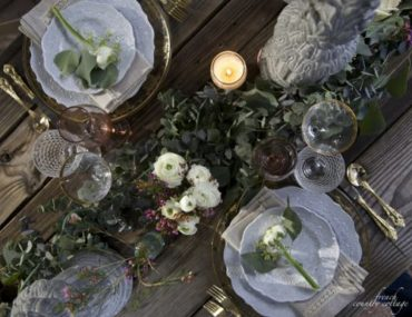 winter themed wedding floral centerpiece tablescape