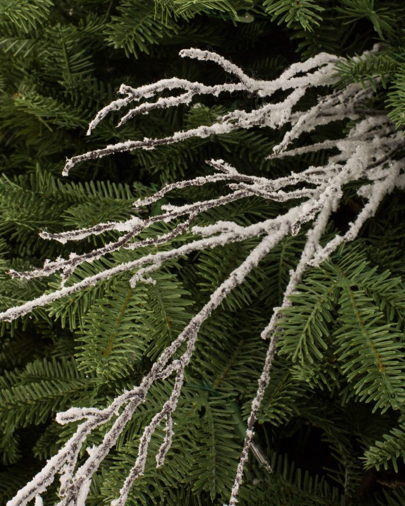 Use these snowy branch picks to decorate your Christmas tree