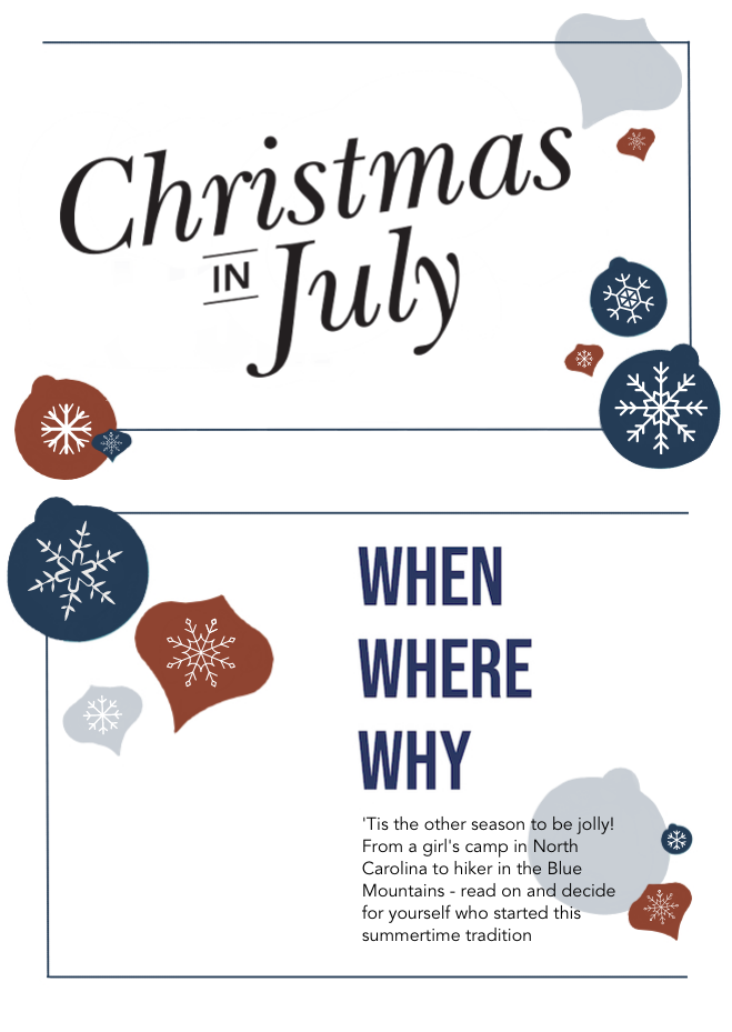 Christmas in July Infographic Title When Where Why