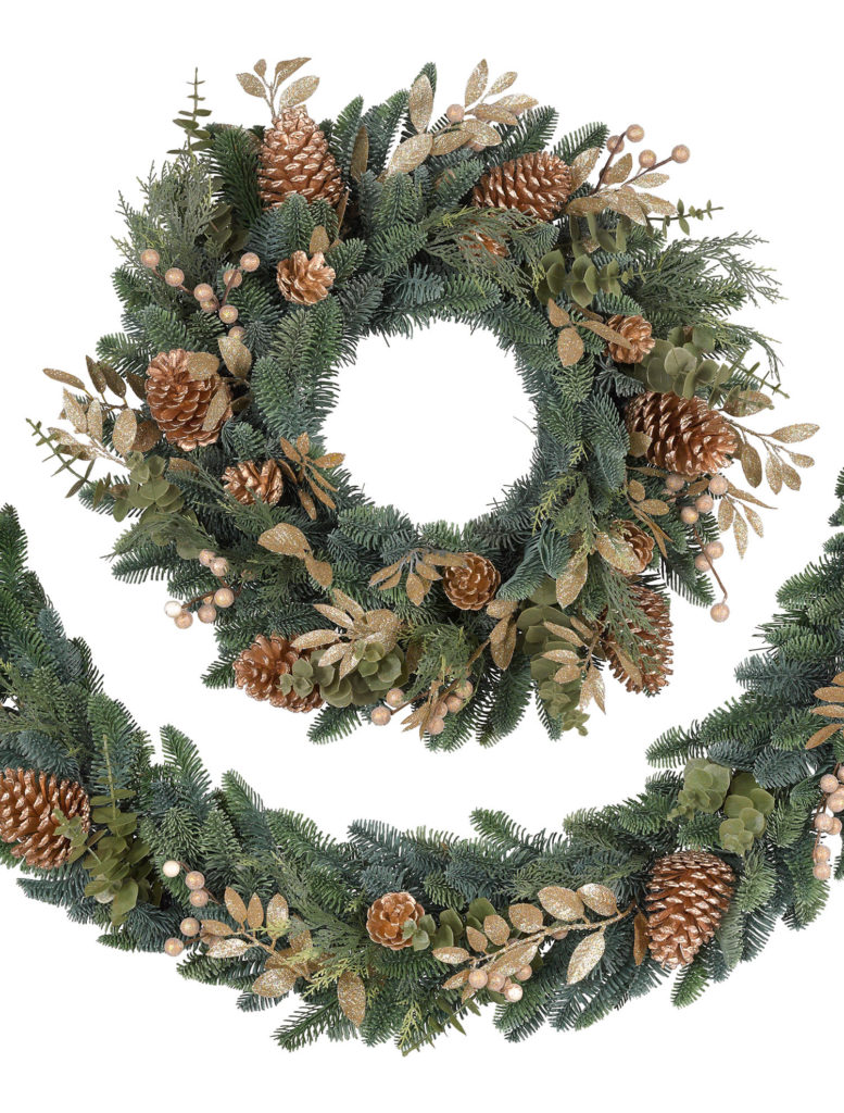 Balsam Hill Noble Fir Gilded Wreath and Garland