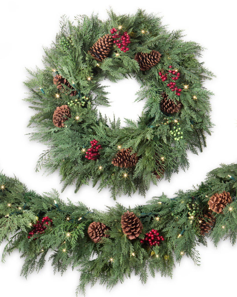 Balsam Hill Winter Evergreen Artificial Wreath and Garland