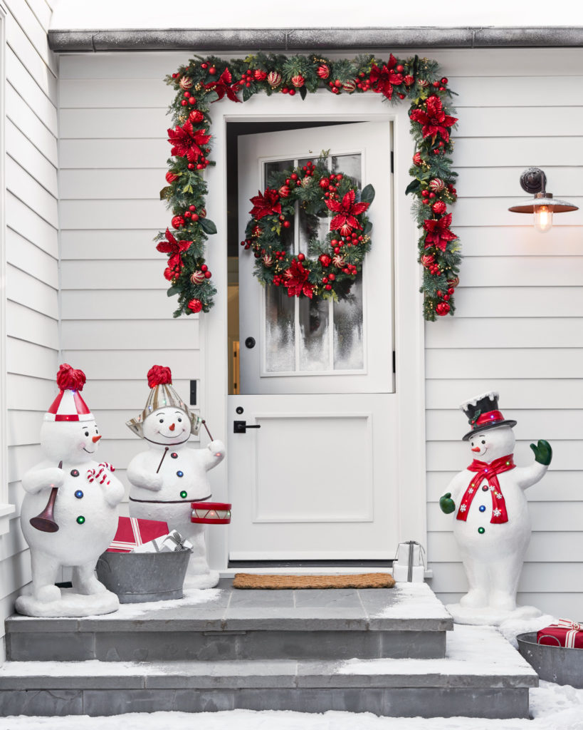 Balsam Hill Outdoor Festive Poinsettia Wreath and Garland