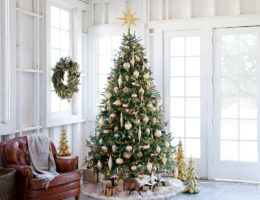 Christmas tree decorations in living room