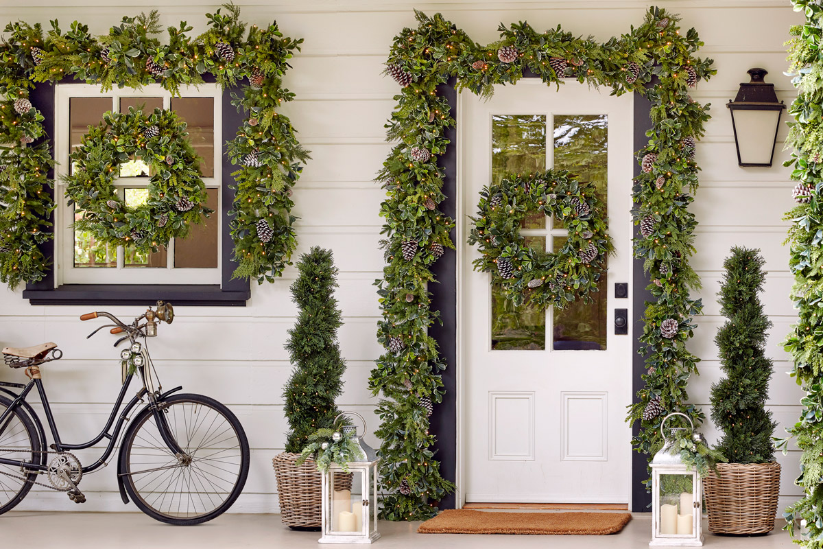 artificial greenery on porch