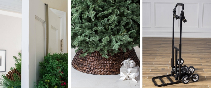 Showcase of our Woven Tree Collar, Double-sided Wreath Hanger, and Stair Climber