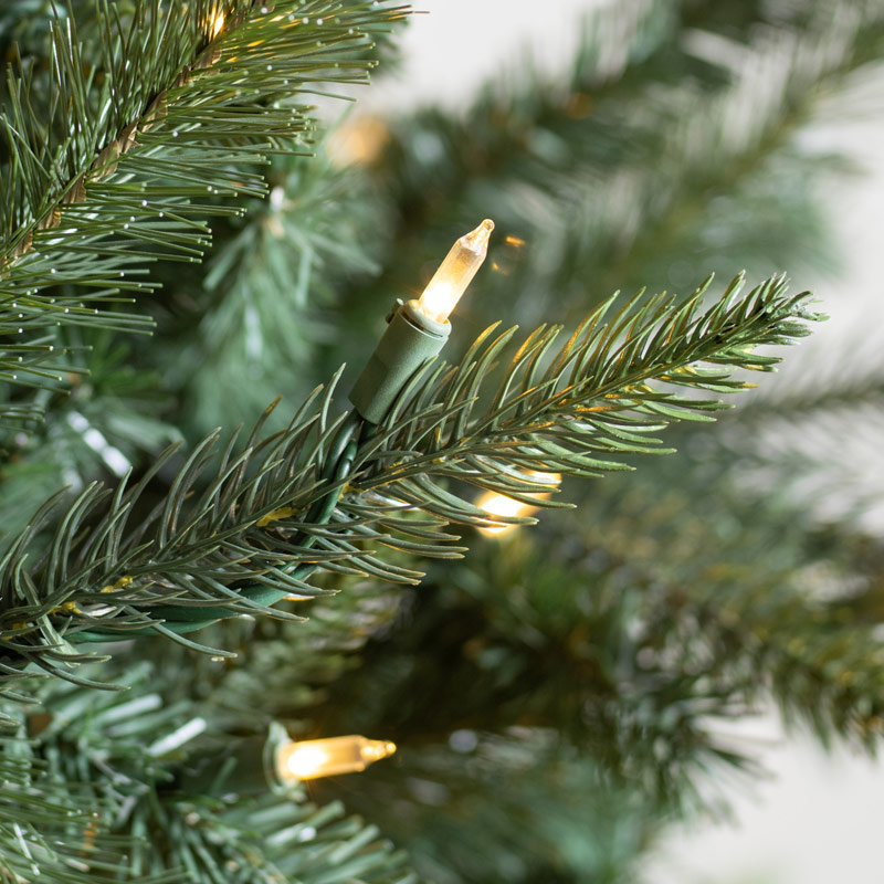 close-up of clear LED light on tree