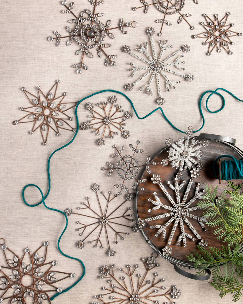 antiqued snowflake ornaments