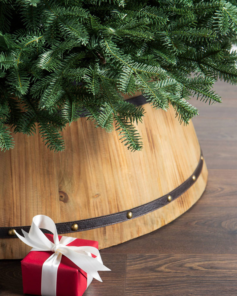 wooden barrel tree collar