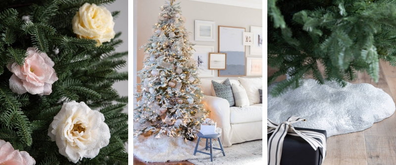 Showcase of a Frosted Fraser Fir, Winter Botanical Picks, and Glittering Snow Tree Stand