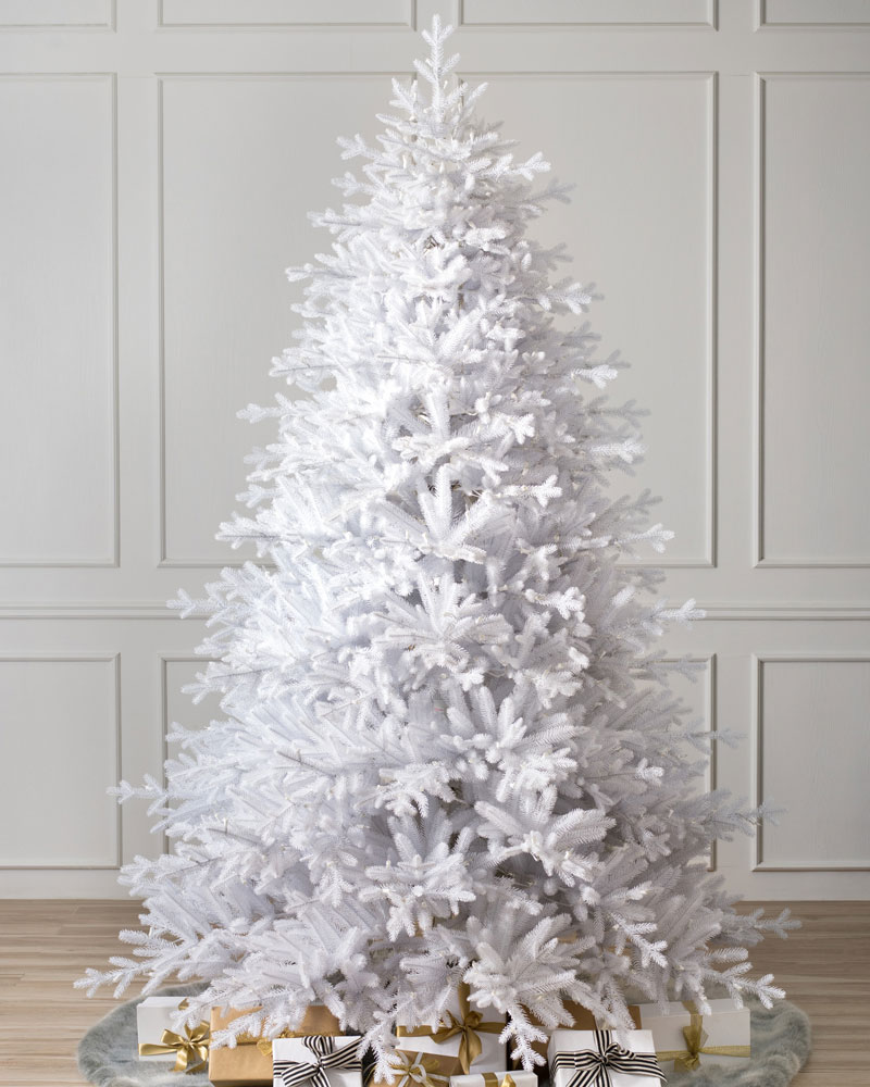 White unlit Christmas tree