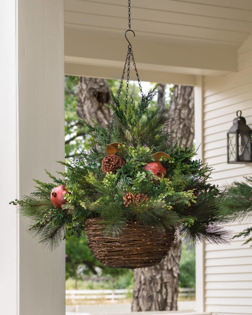 Balsam Hill Mixed Pine Hanging Basket Artificial Greenery