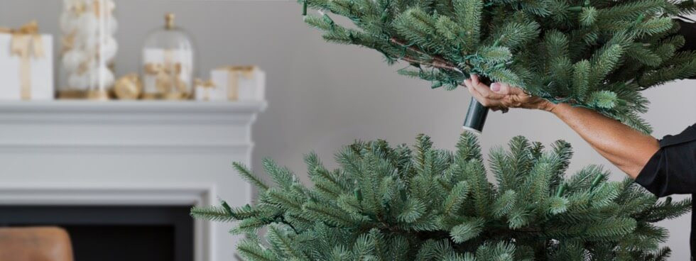 easy set-up artificial Christmas tree