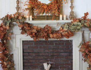 Fall decorations on mantel