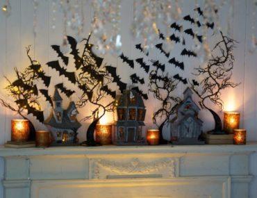 Bats decoration on Halloween mantel by Courtney