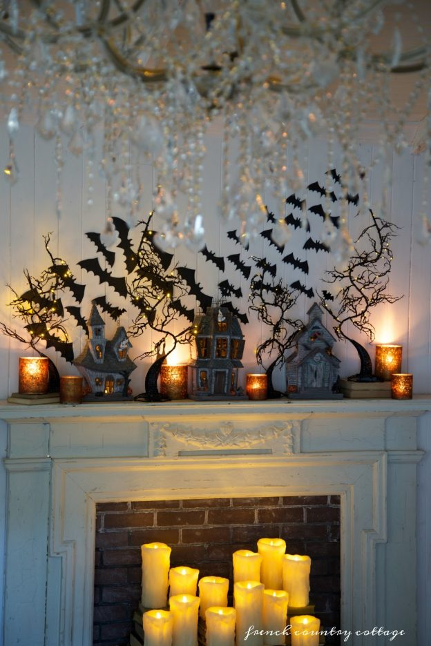 Bats decoration on Halloween mantel by Courtney