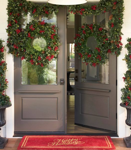 Frosted Holly Berry Wreath and Garland on Double Doors
