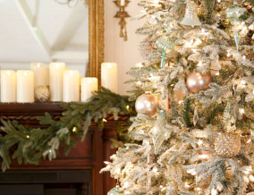 Balsam Hill Frosted Fraser Fir decorated with Winter Frost Ornaments