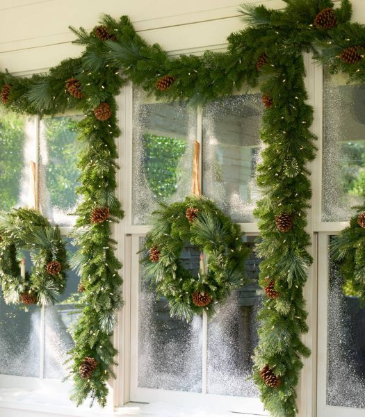 Mixed Evergreen with Pinecones Wreath and Garland Artificial Greenery on Window