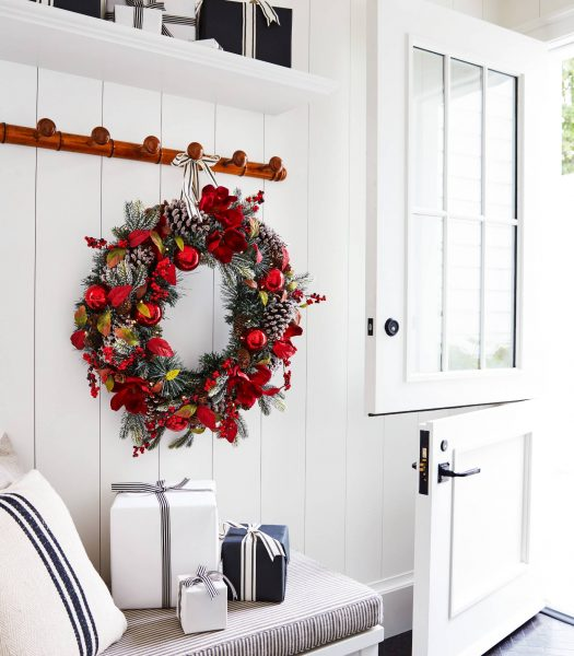 Balsam Hill Mountain Chalet Wreath on entryway