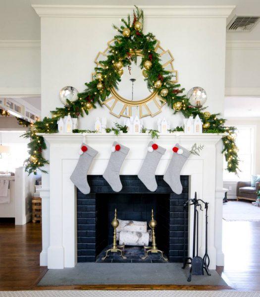 Balsam Hill Pine Peak Garland on fireplace mantel