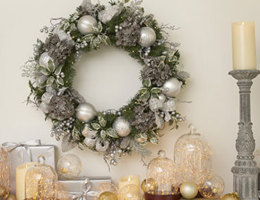Balsam Hill Artificial Wreath on mantel top