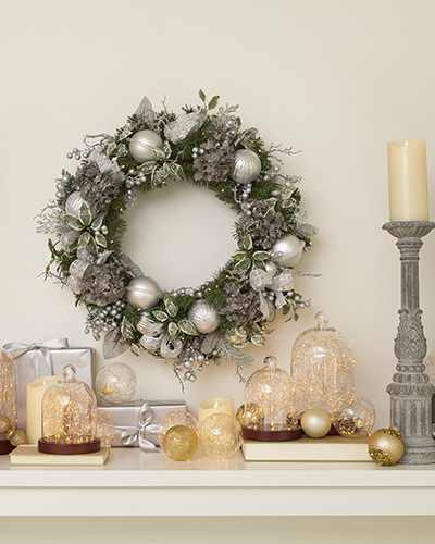 Balsam Hill Artificial Wreath on mantel top
