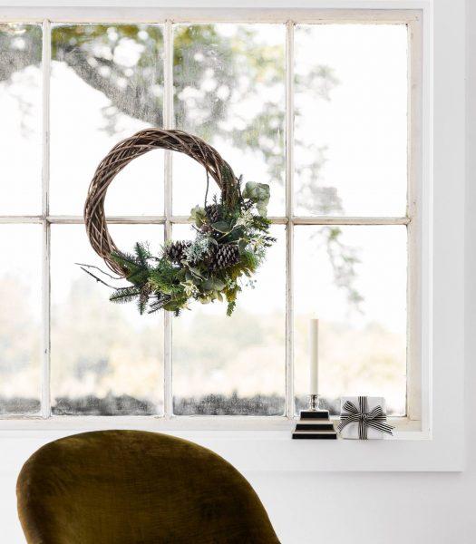 Balsam Hill Wintergreen Woods Wreath on Window