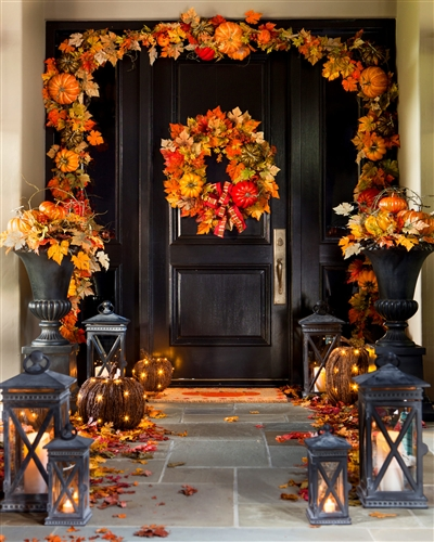 Vibrant fall decor by Balsam Hill on doorway