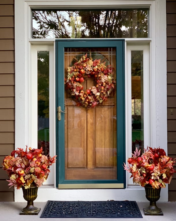 Balsam Hill Apple Spice Wreath and Foliage front door display