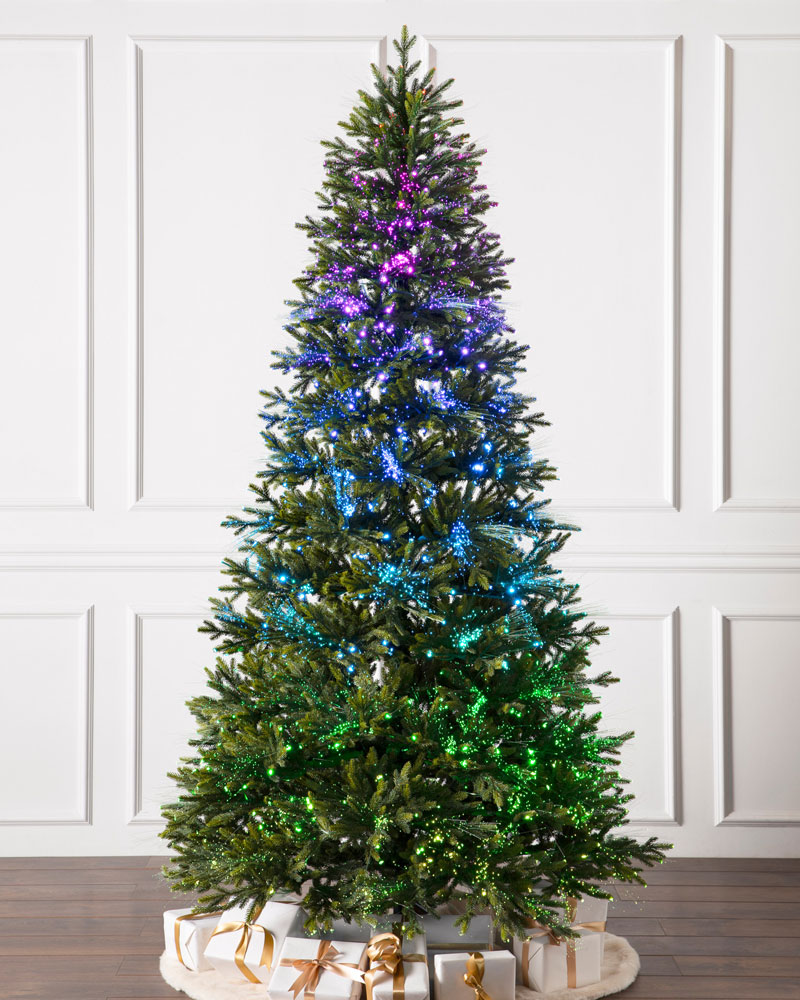 multicolor fiber optic lights on tree