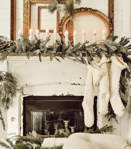 Liz Marie Blog decorates her mantel for winter