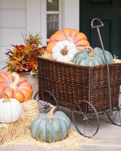 Balsam Hill Outdoor Heirloom Pumkins in a wicker cart