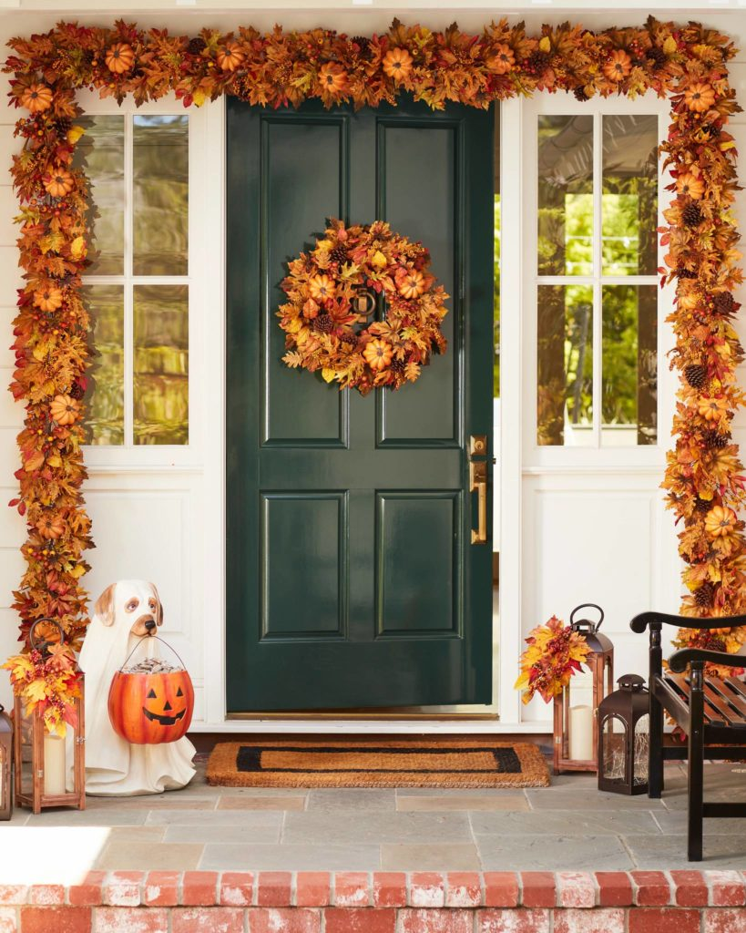 Balsam Hill Outdoor Autumn Traditions Foliage Wreath and Garland hanging on front door
