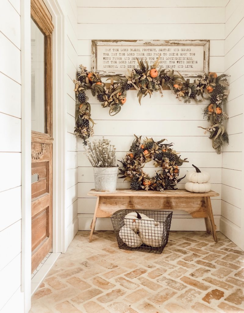 Balsam Hill Autumn Abundance Artificial Wreath and Garland on foyer