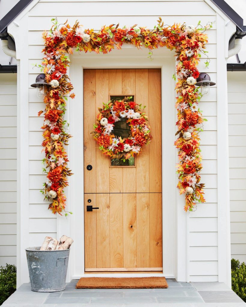 Balsam Hill Outdoor Fall Radiance Wreath and Garland on front door