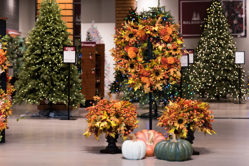 Holiday foliage and trees in store at Christiana Mall